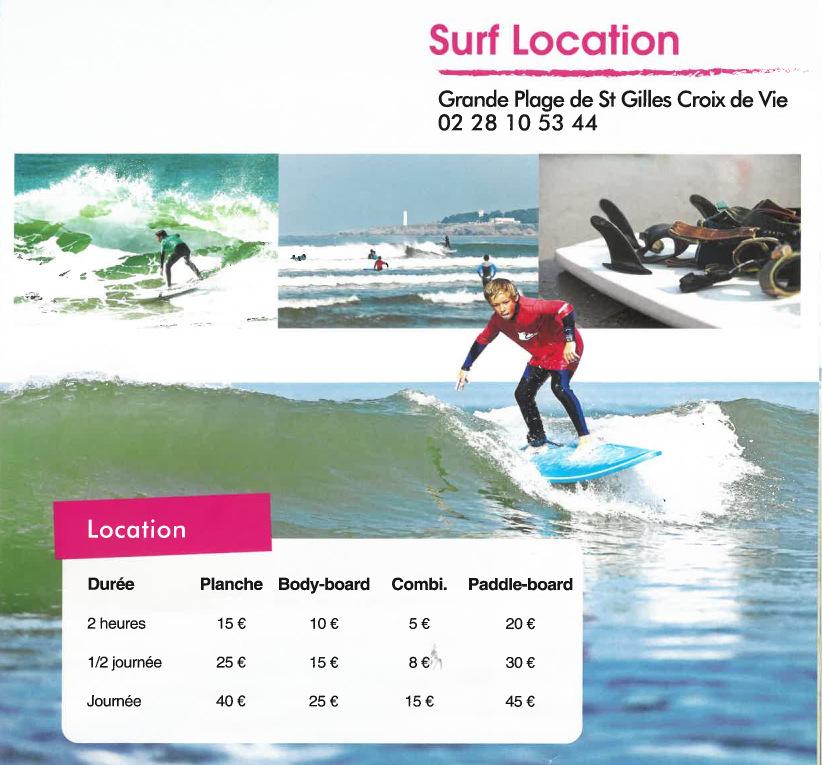 location planche de surf